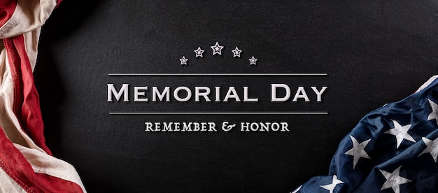 Happy memorial day concept made from vintage american flag with text