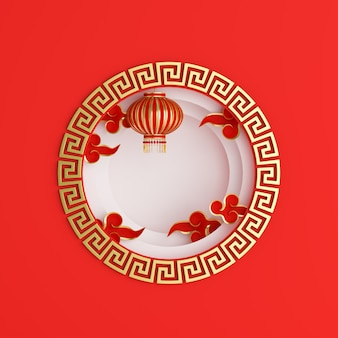 Happy mid autumn festival or chinese new year background with lantern and cloud