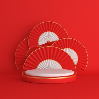 Happy mid autumn festival or chinese new year podium mockup decoration hand fan