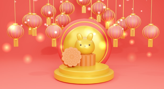Happy mid autumn festival with cute bunny and chinese lantern, 3d rendering.