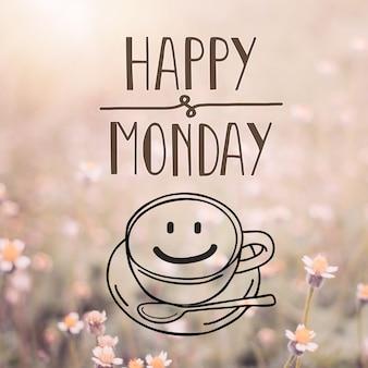 Счастливое слово в понедельник на размытом цветке с фон старинных фильтров