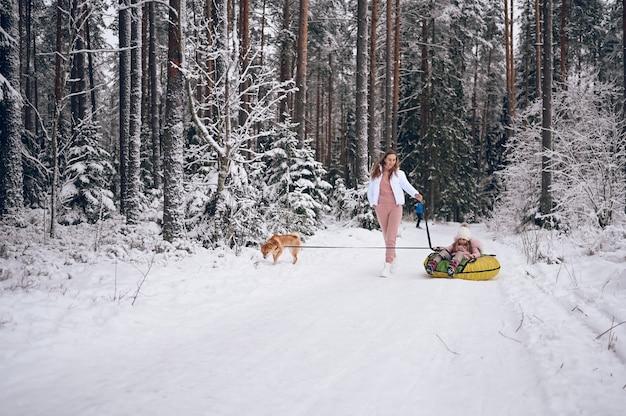 幸せな母とピンクの暖かい服を着て歩いている小さなかわいい女の子は、雪のように白い寒い冬の森の屋外で赤い柴犬犬と一緒に膨脹可能な雪管に乗って楽しんでいます