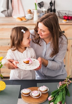 Happy mother and daughter holding plate with cupcake