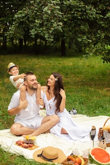 夏の公園でピクニックをしている幸せな母、父と彼らのかわいい幼い息子。父親の肩に座っている子供。家族とレジャーのコンセプト