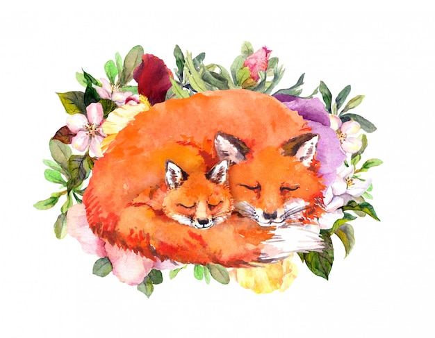 Happy mother's day card with sleeping foxes. greeting card for mom with adorable animals. baby and mother together in flowers. watercolor