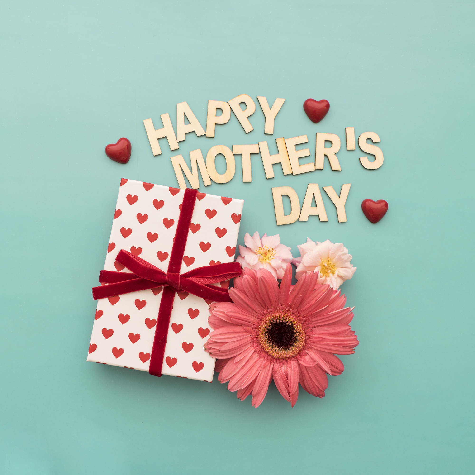 happy mother's day  lettering, gift box, hearts and flowers