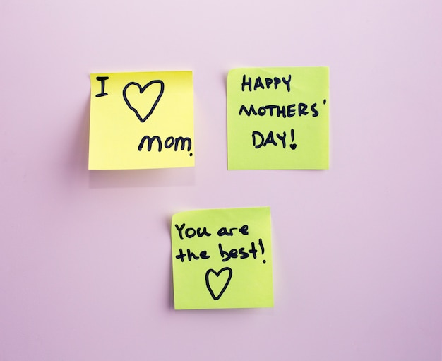 Happy mother's day note reminder yellow sticker on a wall