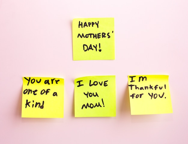 Happy mother's day note reminder yellow sticker on a wall,