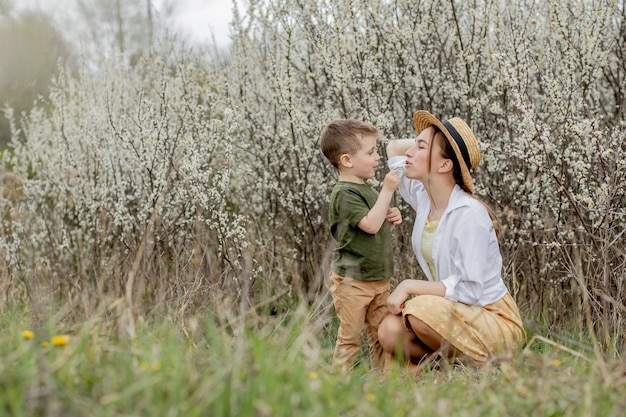 Happy mother and son having fun together
