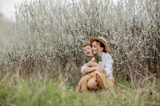 Happy mother and son having fun together Premium Photo