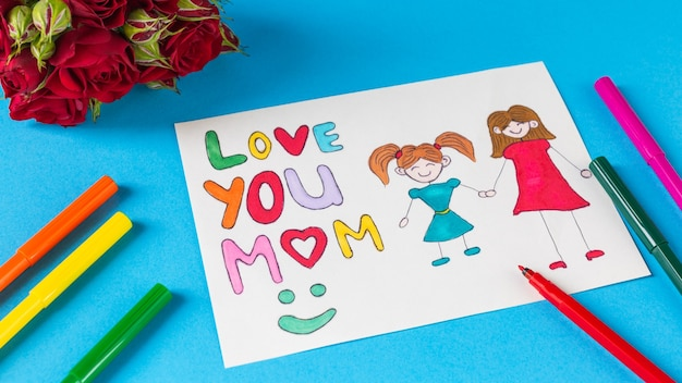 Happy mothers day beautiful postcard drawn by a child for mom love you mom