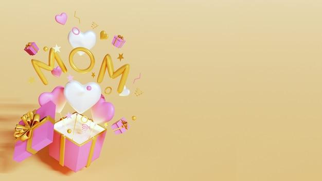 Счастливое украшение дня матери с воздушными шарами и подарочной коробкой на желтом фоне с копией пространства