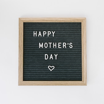 Happy mothers day inscription on black board