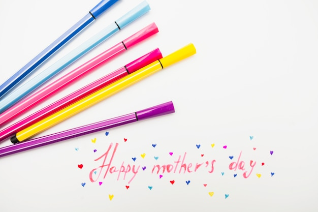 Happy mothers day inscription with colorful felt pens
