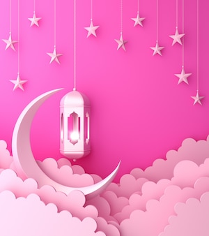 Happy muharram islamic decoration background with lantern crescent cloud