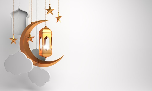 Happy muharram islamic new year decoration with lantern crescent cloud