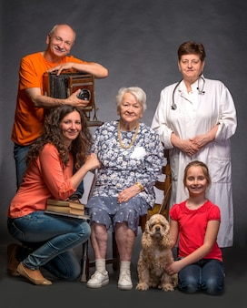 Happy multi-generation family posing