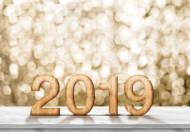 Happy new year 2019 (3d rendering) on grey marble table at gold sparkle bokeh