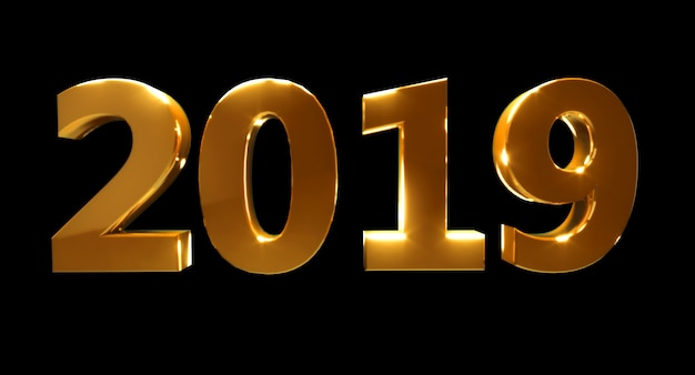 Happy new year 2019 on a black background. golden 3d numbers