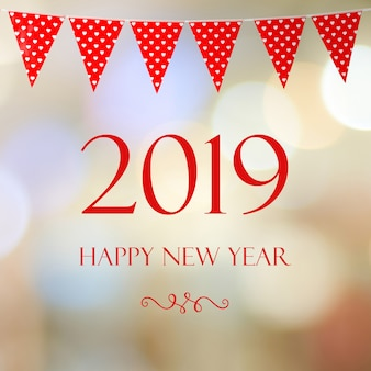Happy new year 2019 on blur abstract bokeh background, new year greeting card