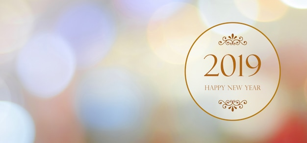 Happy new year 2019 on blur abstract bokeh background