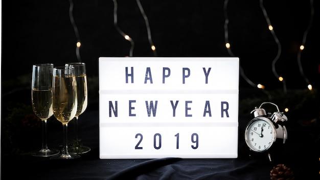 Happy new year 2019 inscription on board