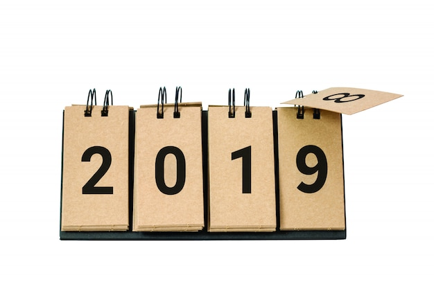 Happy new year 2019 replace 2018 concept isolated on white background