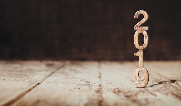 Happy new year 2019 wood in perspective wood floor