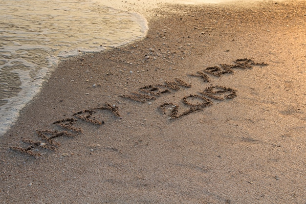 Happy new year 2019, written in sand write on tropical beach with wave