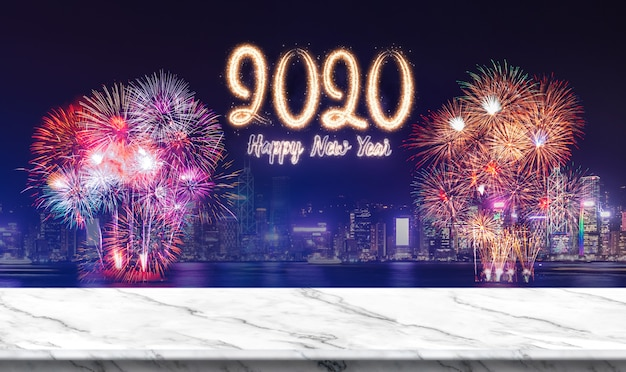 Happy new year 2020 (3d rendering) fireworks over cityscape at night with empty white marble table
