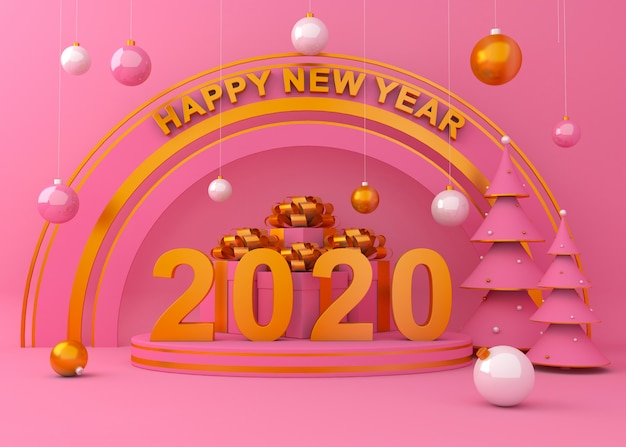 Happy new year 2020 creative background 3d rendering illustration.