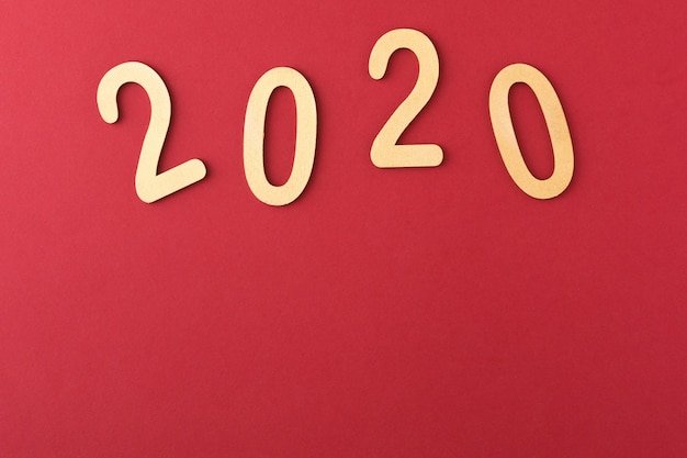 Happy new year 2020 date on red