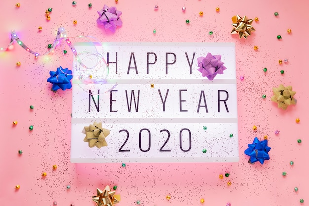 Happy new year 2020 in the light box
