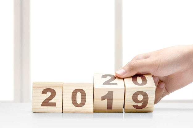 Happy new year 2020 numbers in wooden blocks