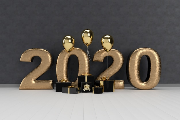Happy new year 2020 with gift boxes and balloons