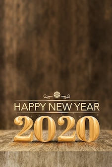 Happy new year 2020 at wooden block table and blur wood wall, vertical banner holiday greeting card for social media(3d rendering).