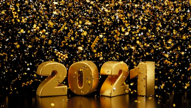 明けましておめでとうございます2021年と黒い背景の3dレンダリングに落ちるホイル紙吹雪