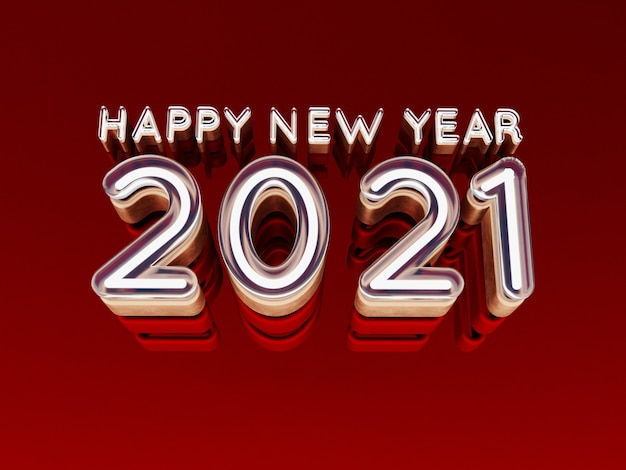 Happy new year 2021 bold letters high quality 3d render isolated on red