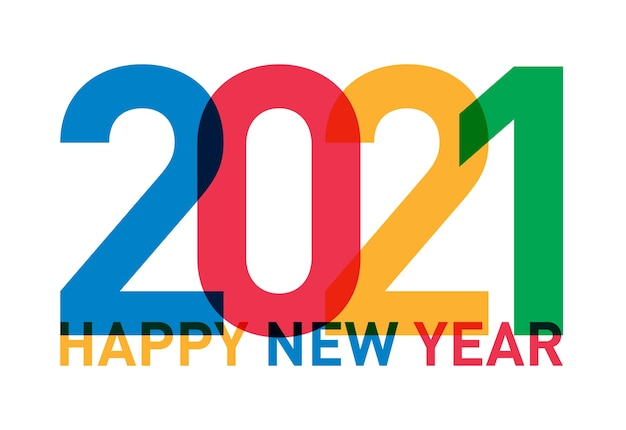 Happy new year 2021 card from the world in different languages and colors