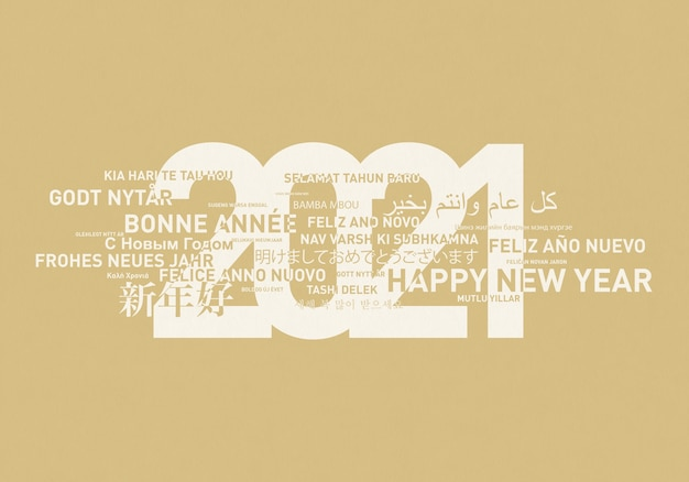 Happy new year 2021 card from the world in different languages.