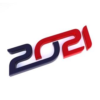 새해 복 많이 받으세요 2021 축하 3d 텍스트입니다. 빨간색 2021 번호 달력 서식 파일
