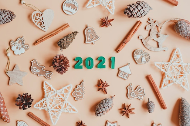 Happy new year 2021. christmas decorations with numbers 2021