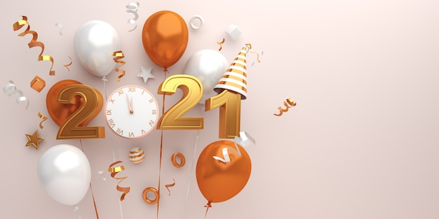 Happy new year 2021 decoration with firework rocket, balloons, clock