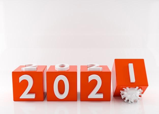 明けましておめでとうございます2021年。2020年の終わりコロナウイルスの概念。 3dレンダリング。 3dイラスト