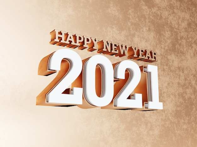 Happy new year 2021 golden bold letters background