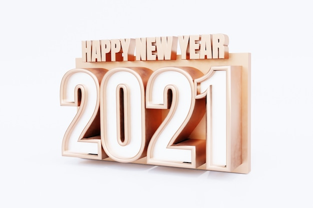 Happy new year 2021 golden bold letters high quality 3d render isolated on white
