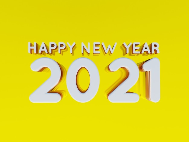 Happy new year 2021 golden bold letters high quality 3d render isolated on yellow