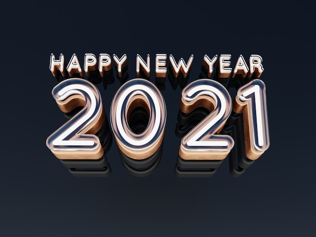 Happy new year 2021 golden bold letters high quality 3d render isolated