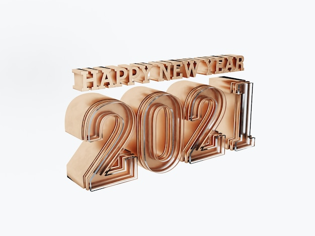 Happy new year 2021 golden bold letters isolated on white
