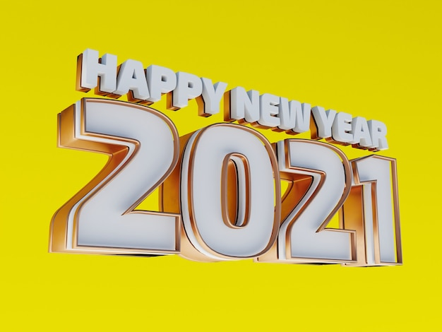 Happy new year 2021 golden bold letters isolated on yellow